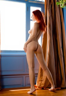 Big Tits Red Hair Woman Naked In Window Light