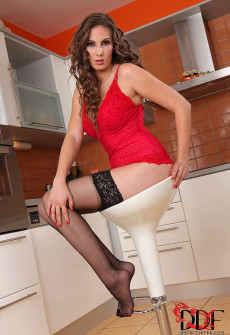 Big Tits Woman Wearing Stockings in Kitchen