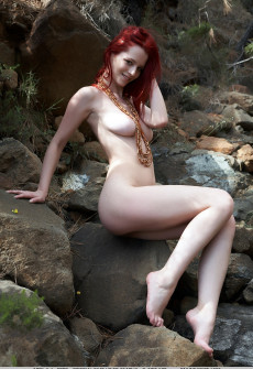 Big Tits Redhead Naked Outdoors On Rocks