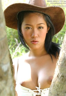 Busty Asian Girl In A Cowboy Hat