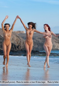 Hot Babes Playing Naked In Ocean
