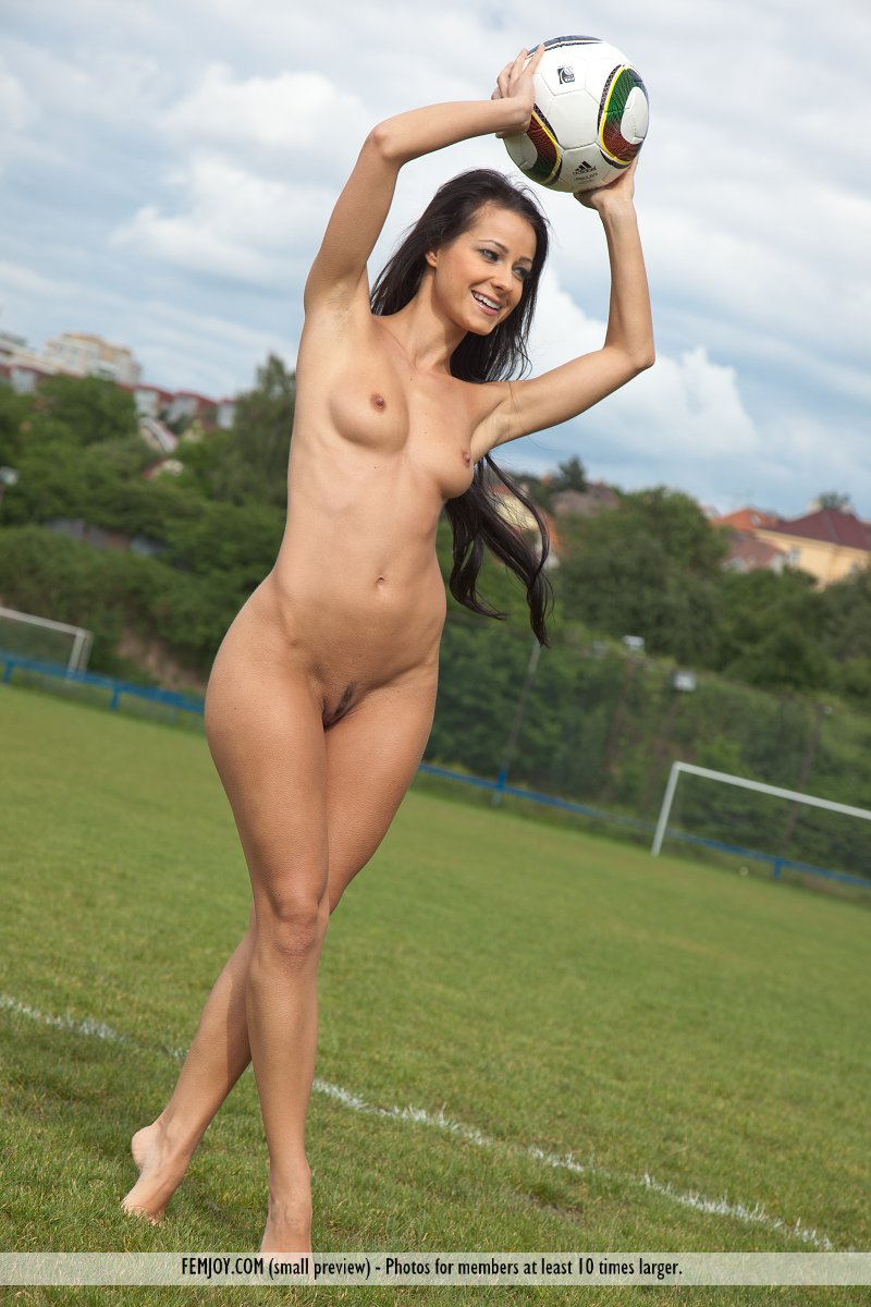 Girls naked play football