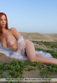 Naked Redhead Lady Lying Naked In The Desert Sand