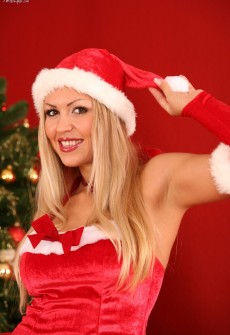 Hot Girl Wearing A Santas Helper Costume